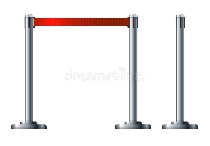 Загородка барьера касс аэропорта Организация движения и безопасности Граница пешеходных зон станций иллюстрация вектора