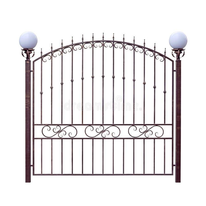 Загородка выкованная металлом с фонариками иллюстрация вектора