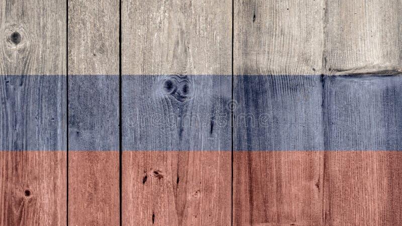 Загородка флага России деревянная стоковое изображение rf