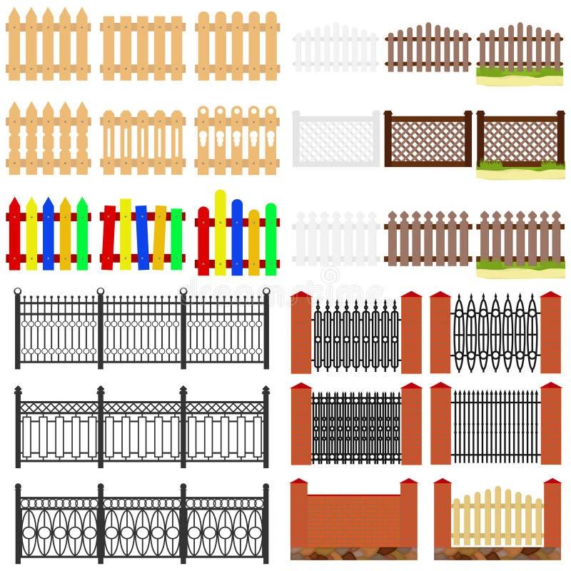 Загородки загородки, деревянных и krypichnye Загородка от выкованных продуктов иллюстрация вектора