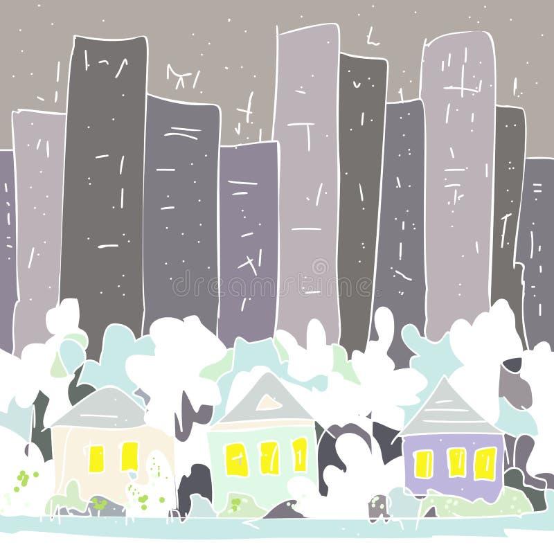 Загородные дома и деревья против серых каменных джунглей бесплатная иллюстрация