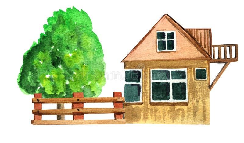 Загородный дом Брауна с загородкой и древесиной иллюстрация акварели для дизайна иллюстрация вектора