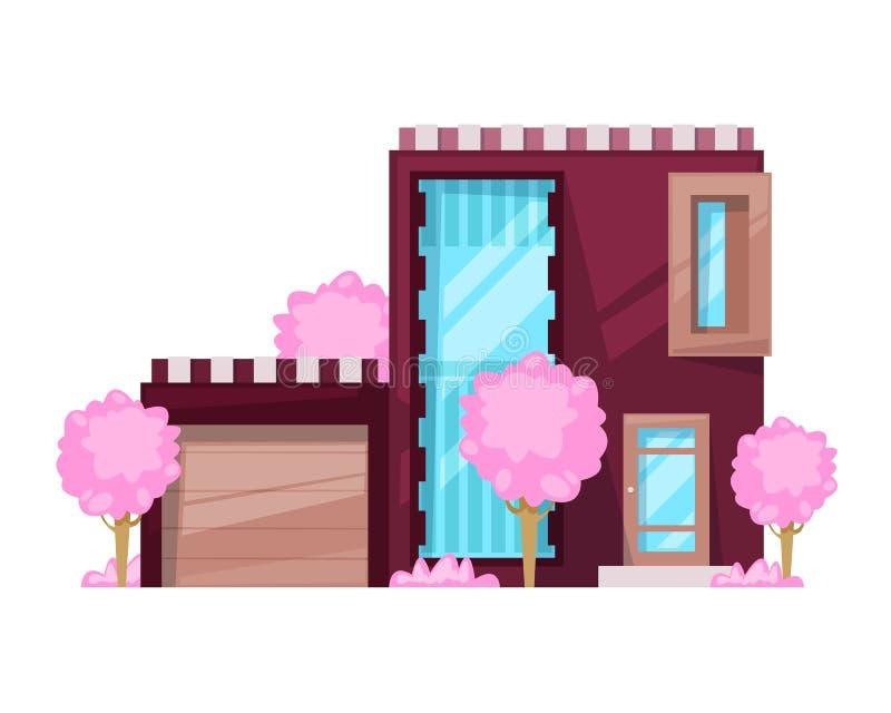 Загородный дом, коттедж семьи, воссоздание особняка Недвижимость в сельской местности иллюстрация штока