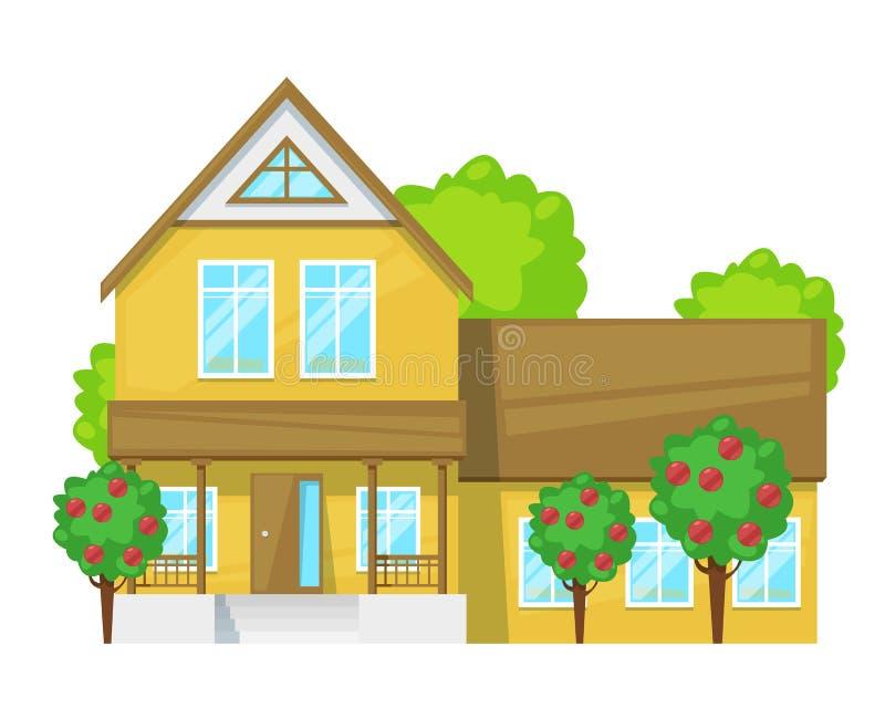Загородный дом, коттедж семьи, недвижимость, дом праздника с садом иллюстрация штока