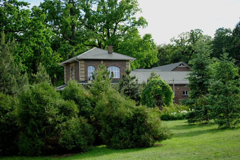 Загородный дом среди зеленых деревьев стоковые изображения rf