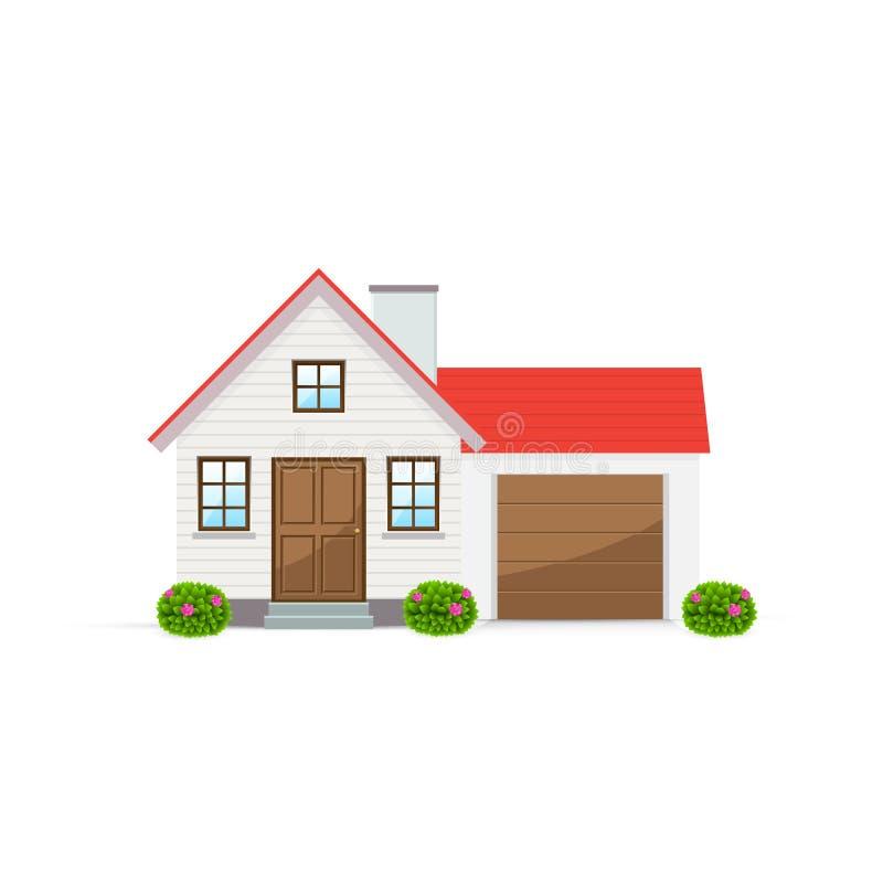 Загородный дом с гаражом также вектор иллюстрации притяжки corel иллюстрация вектора