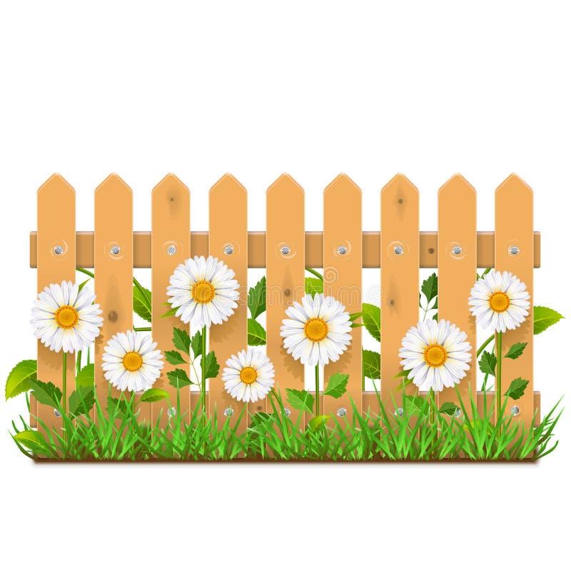 Загородка вектора деревянная с Camomiles бесплатная иллюстрация