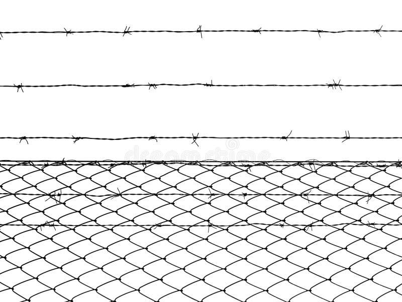 Загородка колючей проволоки изолированная на белой предпосылке иллюстрация штока