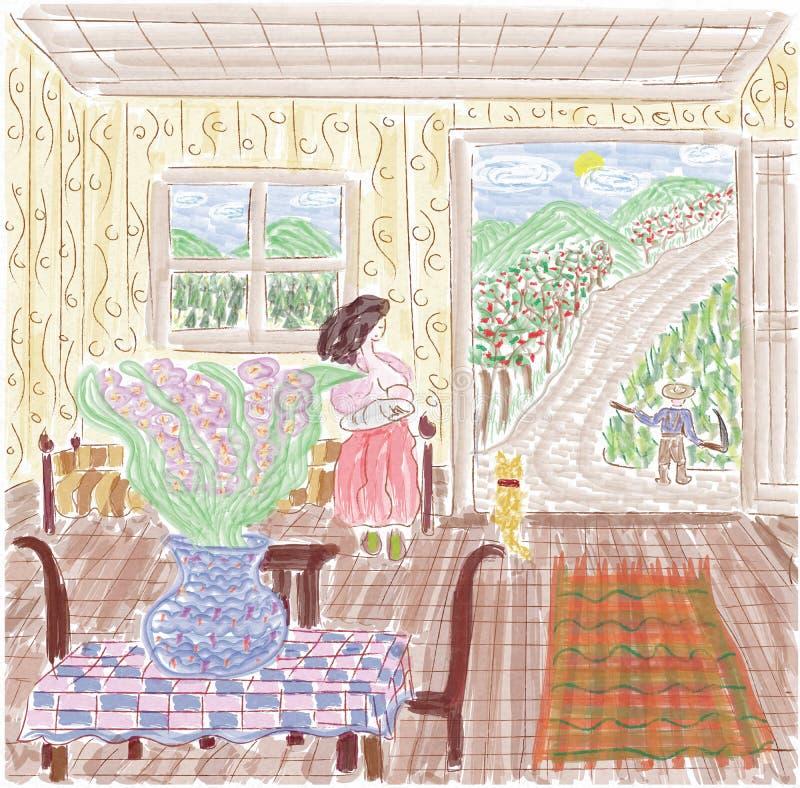 Загородный дом в сельской местности, цветки, женщина, ландшафт бесплатная иллюстрация