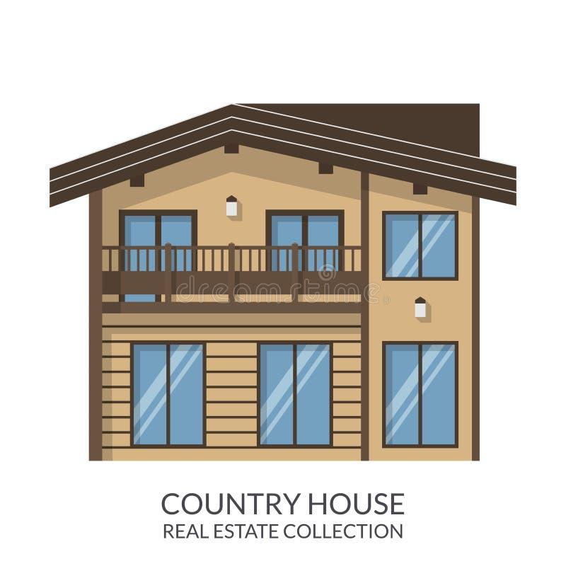 Загородный дом, недвижимость подписывает внутри плоский стиль также вектор иллюстрации притяжки corel иллюстрация вектора