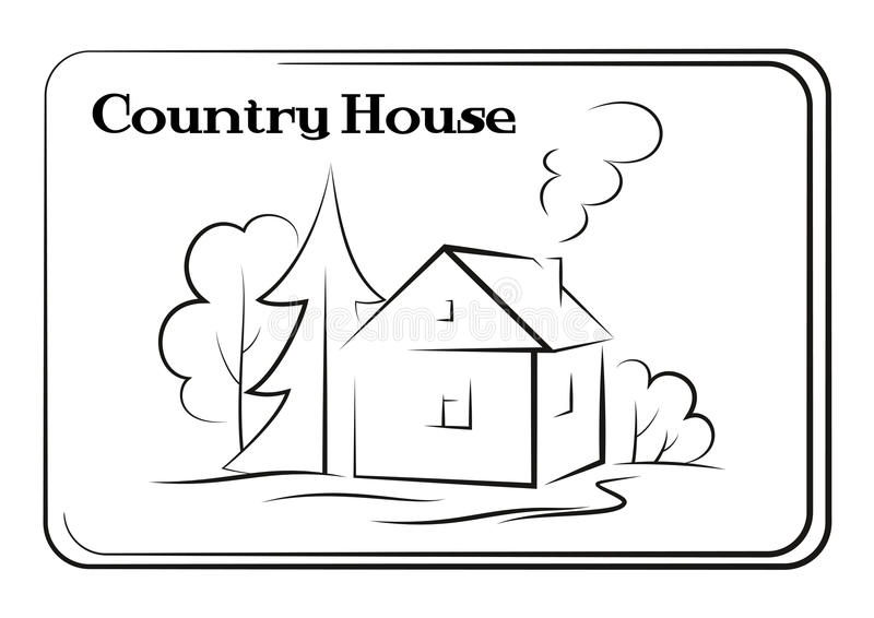 Загородный дом, пиктограмма бесплатная иллюстрация