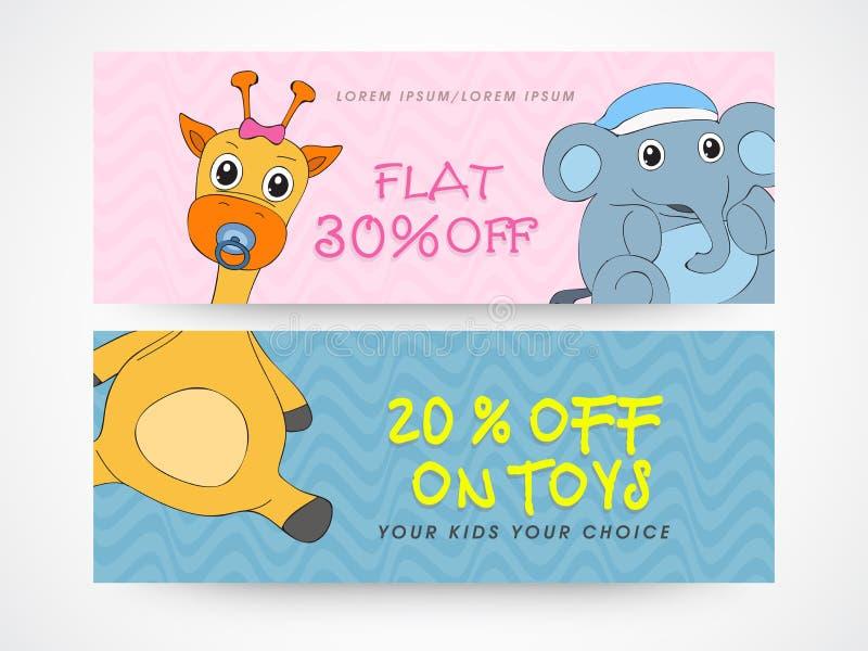 Заголовок вебсайта или комплект знамени для продажи игрушки иллюстрация вектора