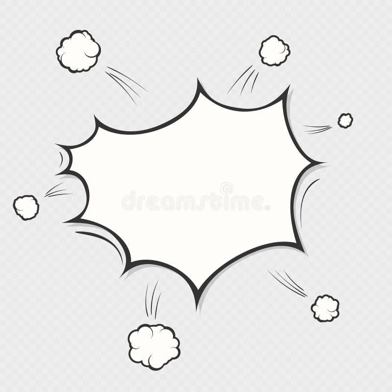 Заграждение взрыва комика на прозрачной предпосылке Символ облака пузыря речи мультфильма Объект искусства шипучки 10 eps иллюстрация вектора