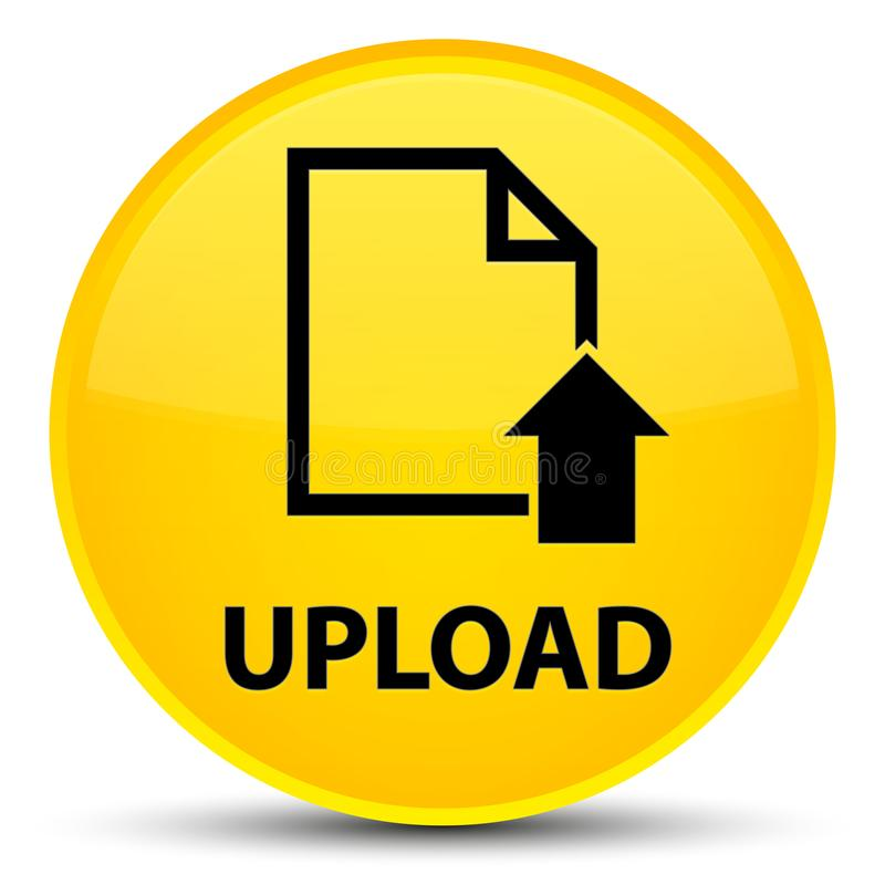 Загружайте (значок документа) специальная желтая круглая кнопка иллюстрация вектора