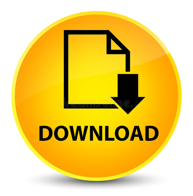 Загрузите (значок документа) элегантную желтую круглую кнопку иллюстрация штока