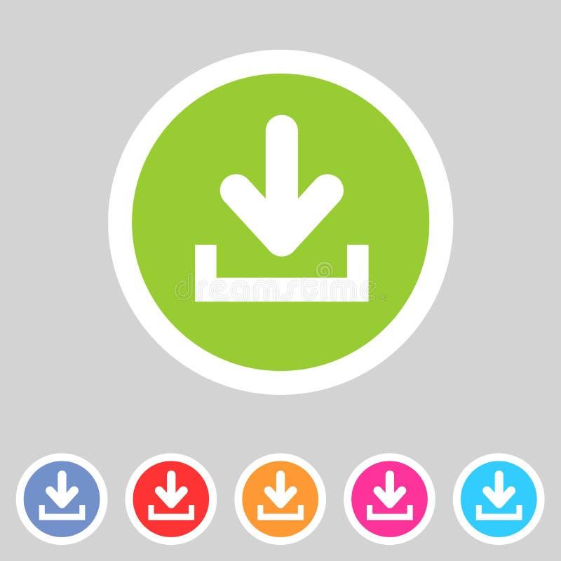 Загрузите значок загрузки плоский, комплект кнопки, символ нагрузки иллюстрация штока