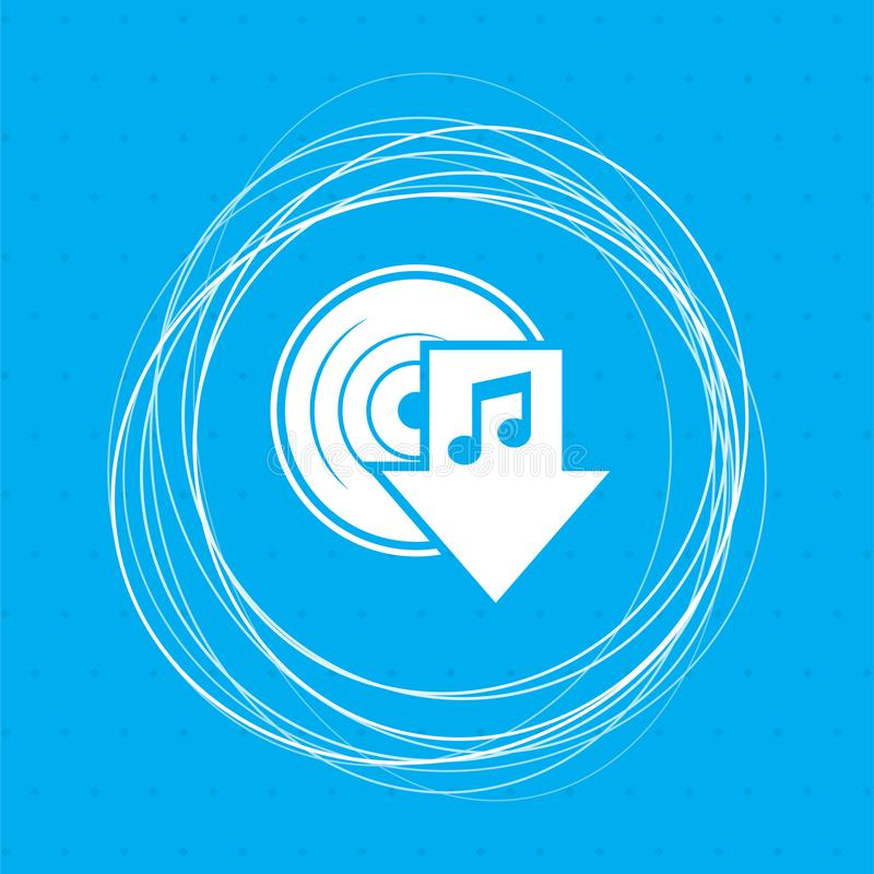 Загрузите значок музыки на голубой предпосылке с абстрактными кругами вокруг и установите для вашего текста иллюстрация вектора