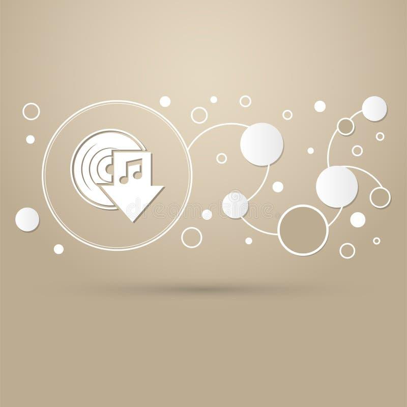 Загрузите значок музыки на коричневой предпосылке с элегантным стилем и современным дизайном infographic иллюстрация вектора