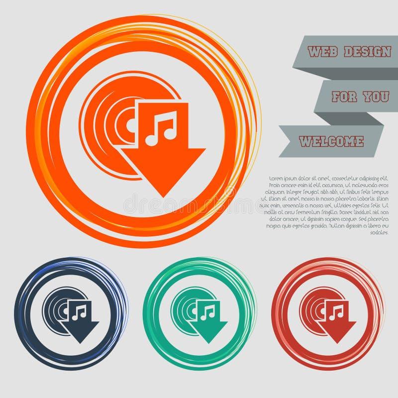 Загрузите значок музыки на красных, голубых, зеленых, оранжевых кнопках для вашего вебсайта и дизайне с текстом космоса бесплатная иллюстрация