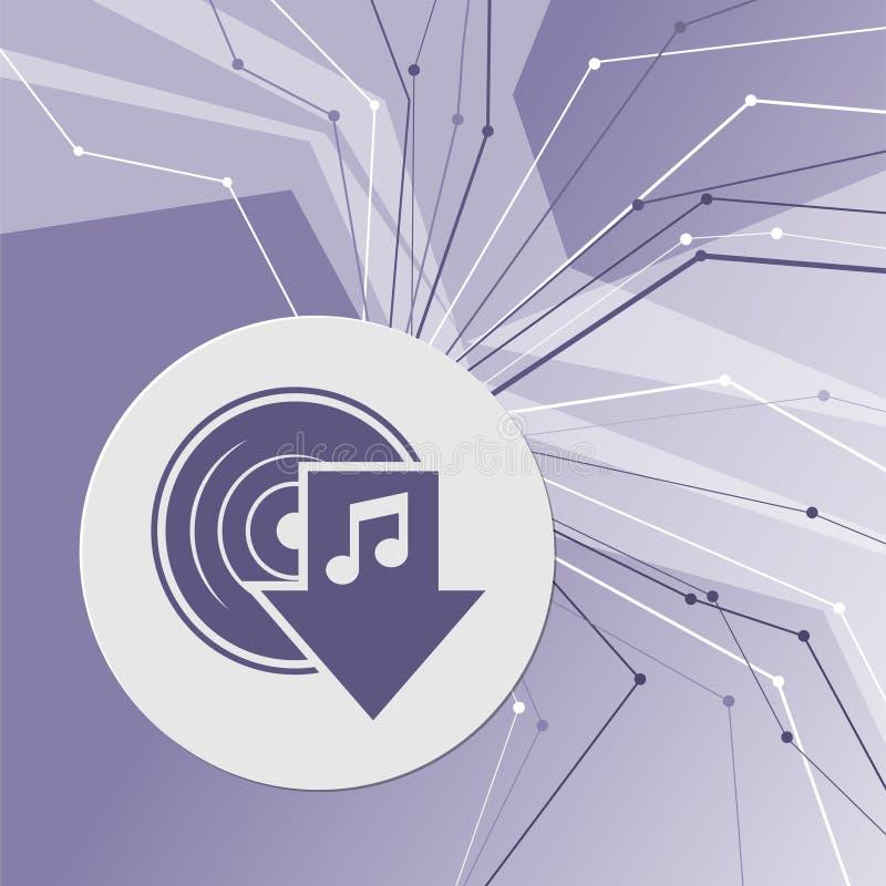 Загрузите значок музыки на фиолетовой абстрактной современной предпосылке Линии во всех направлениях С комнатой для вашей рекламы иллюстрация штока