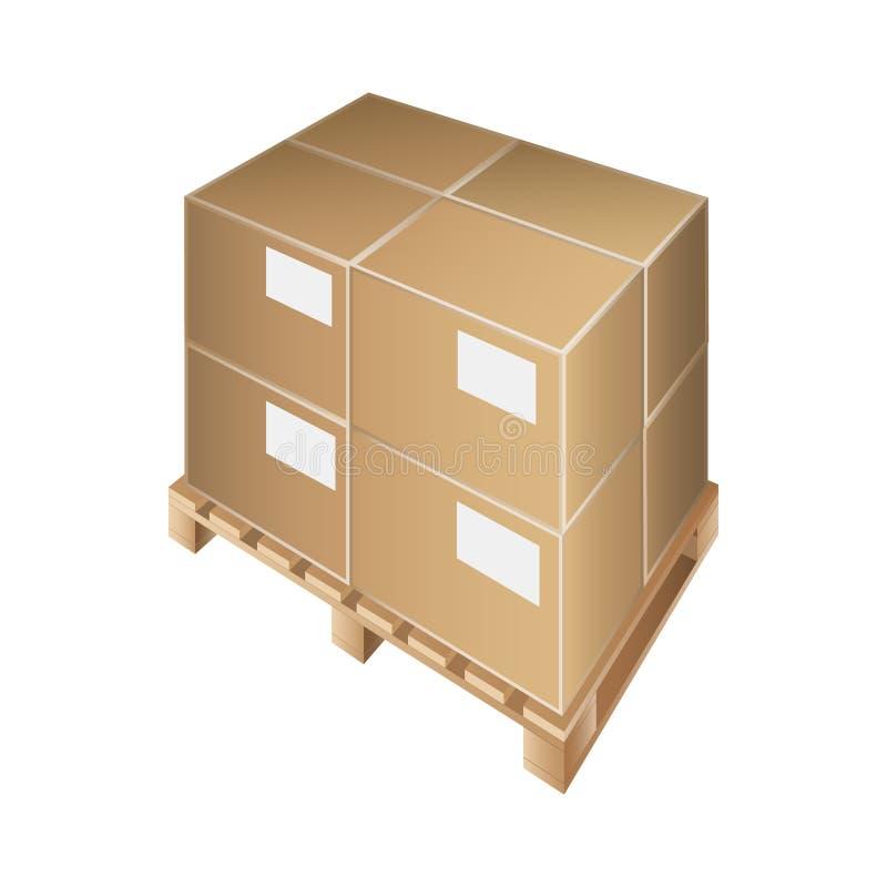 Загрузка клети упаковки хранения транспорта вектора коробки паллета иллюстрация штока