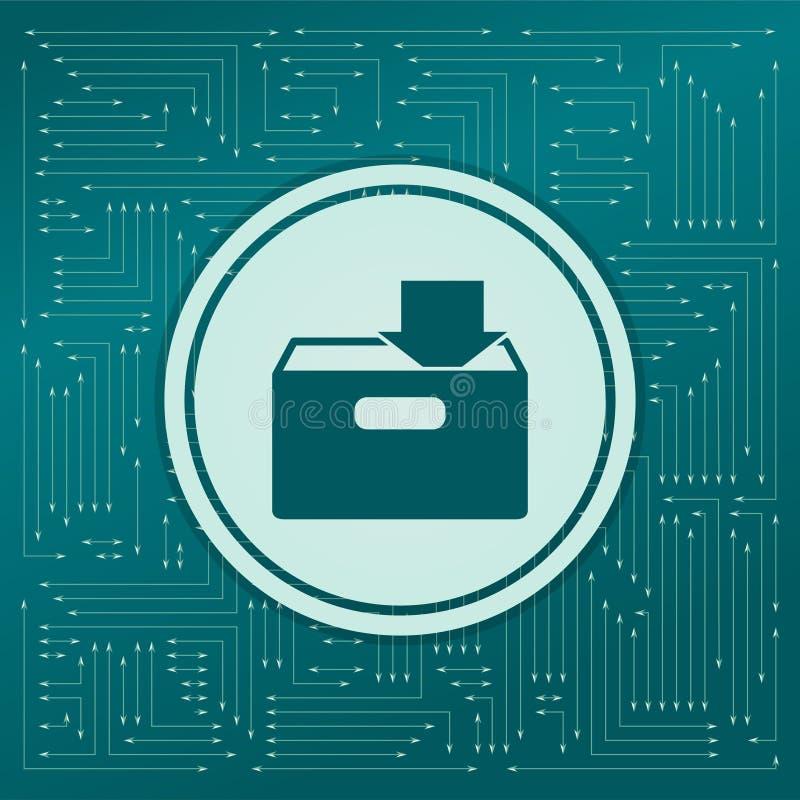 Загрузка к значку hdd на зеленой предпосылке, с стрелками в различных направлениях Оно появляется на электронную доску бесплатная иллюстрация