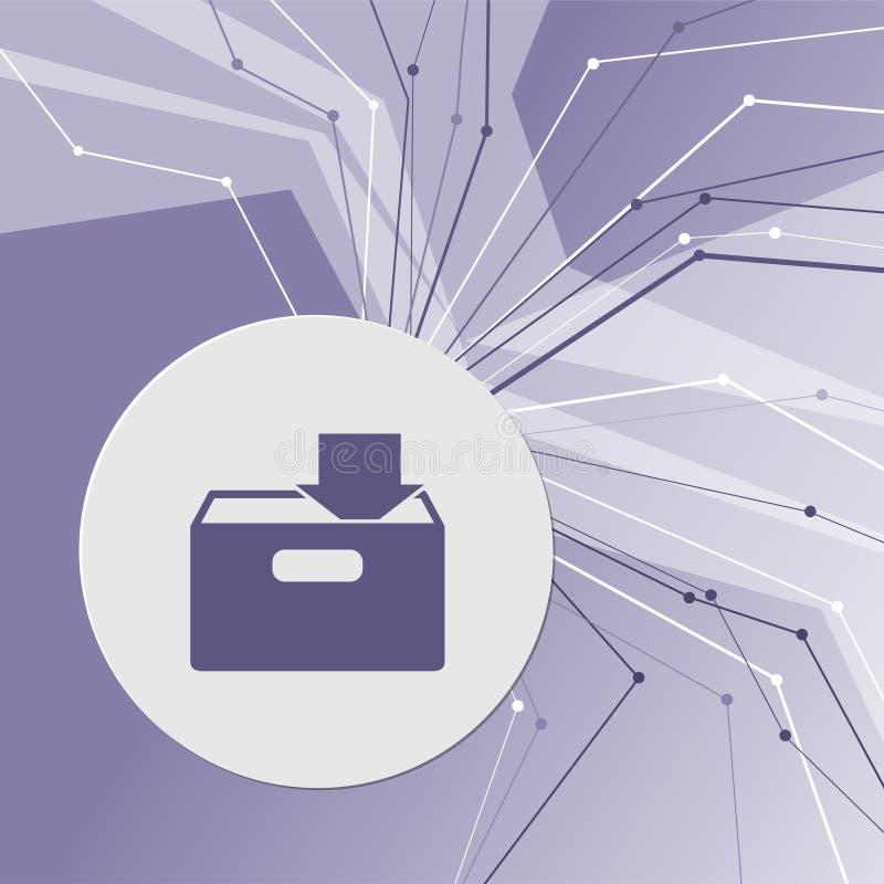 Загрузка к значку hdd на фиолетовой абстрактной современной предпосылке Линии во всех направлениях С комнатой для вашей рекламы бесплатная иллюстрация