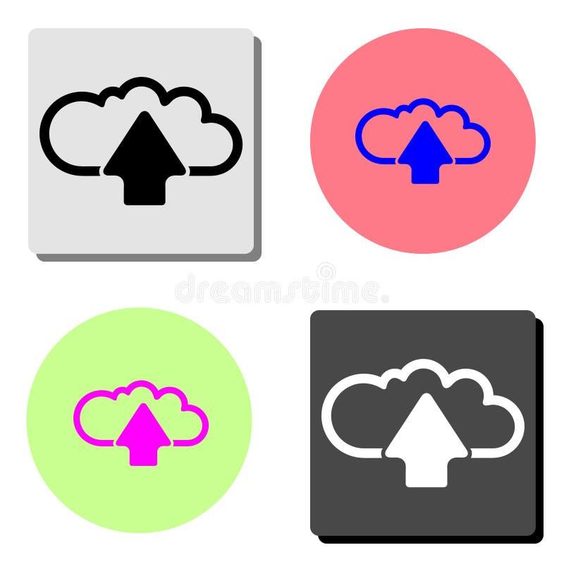 Загрузка облака Плоский значок вектора иллюстрация вектора