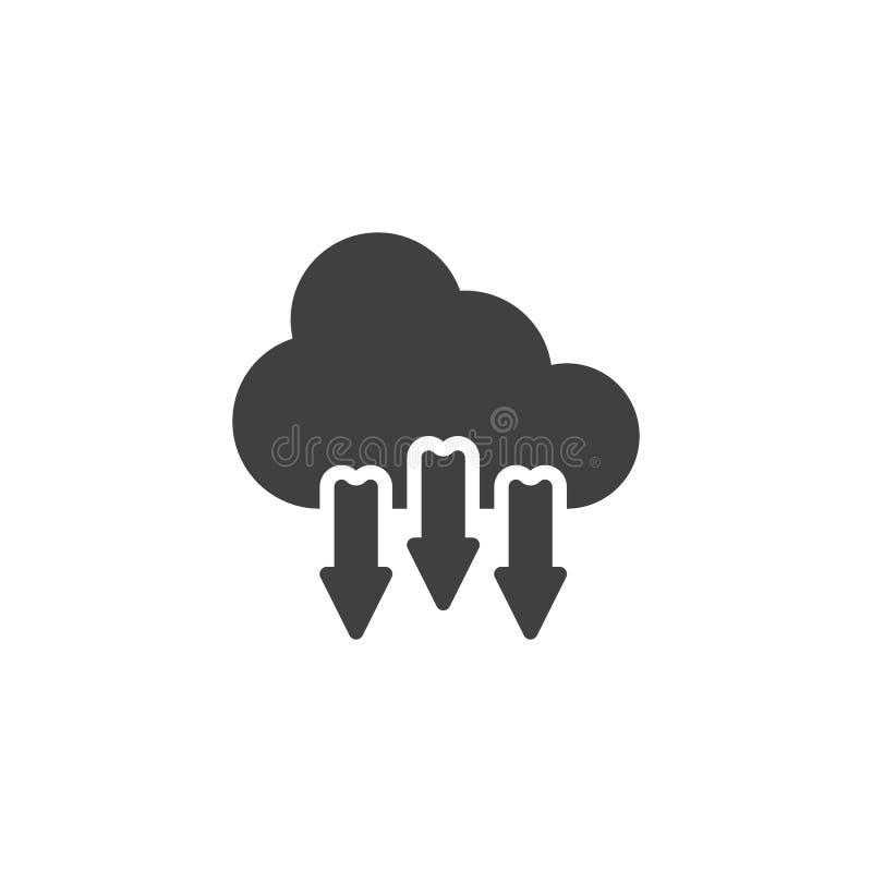 Загрузка от значка вектора облака иллюстрация вектора