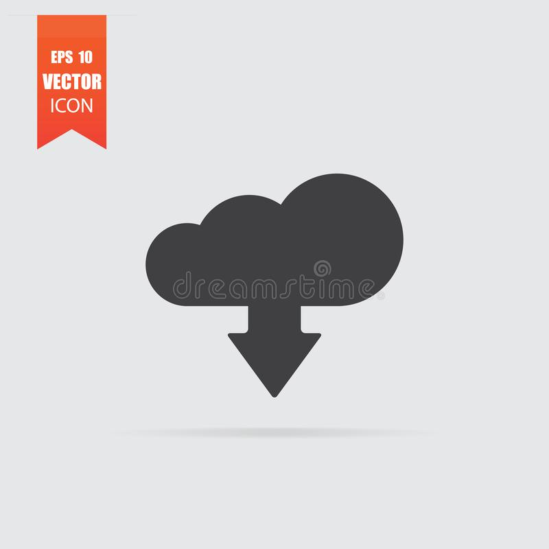 Загрузка от значка облака в плоском стиле изолированного на серой предпосылке бесплатная иллюстрация