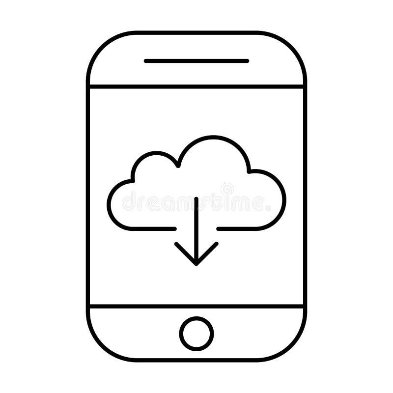 Загрузка от хранения облака используя smartphone Передвижной интернет иллюстрация штока