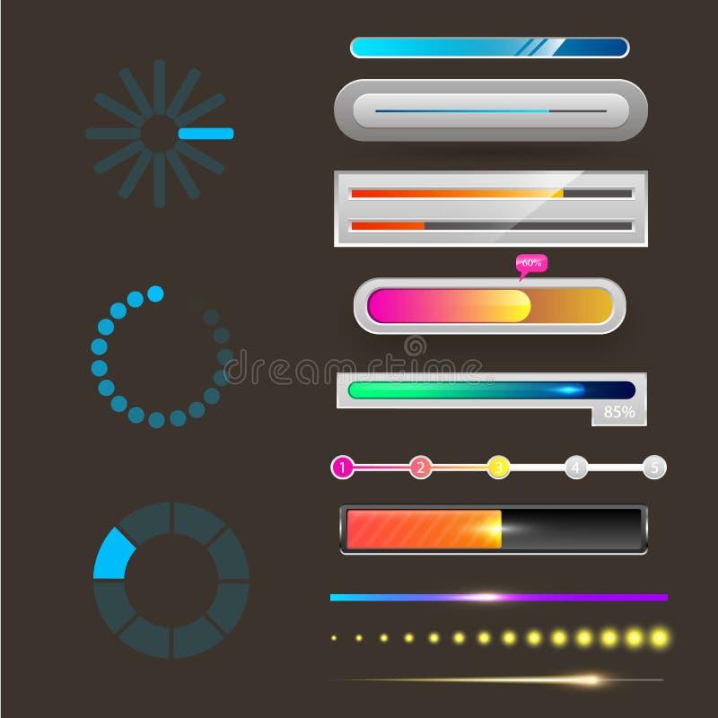 Загрузка файла элементов шаблона дизайна интерфейса сети ui-ux прогресса загрузки индикаторов бара вектора загрузки прогресса иллюстрация штока