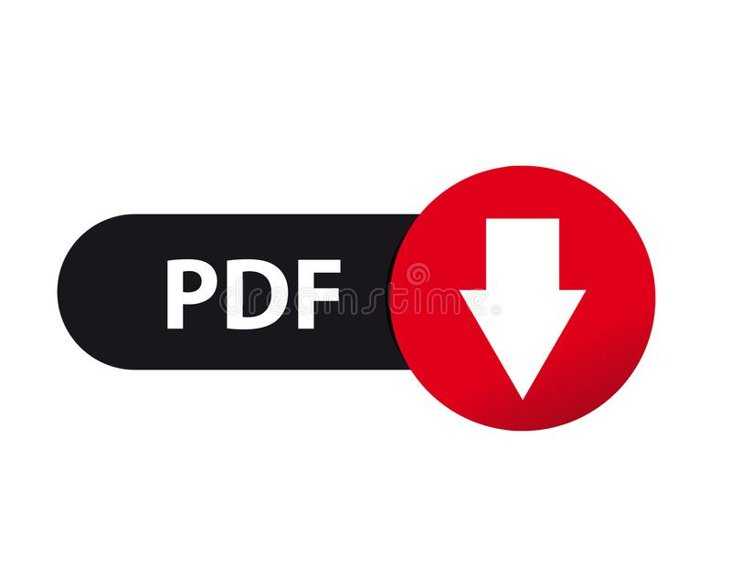 Загрузка PDF кнопки сети - иллюстрация вектора - изолированная на белизне иллюстрация вектора