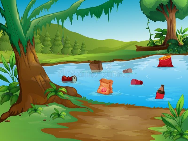 Загрязнение воды в ландшафте природы иллюстрация вектора