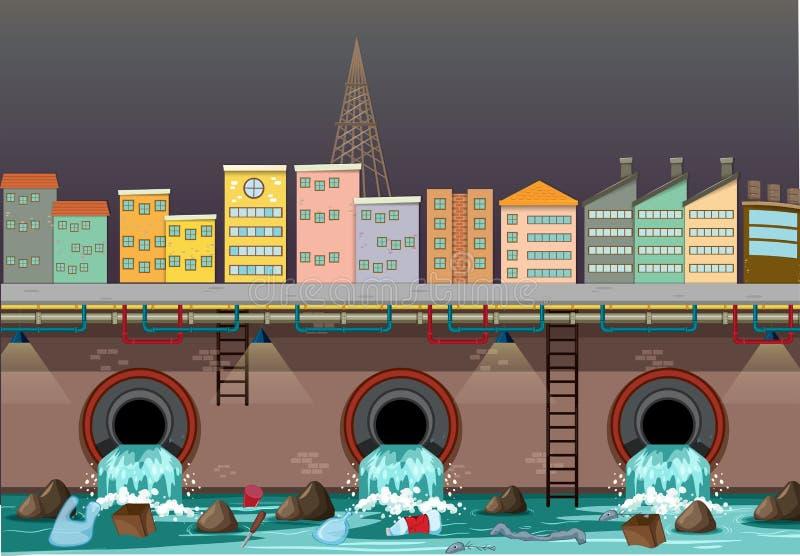 Загрязнение воды от стока города иллюстрация штока