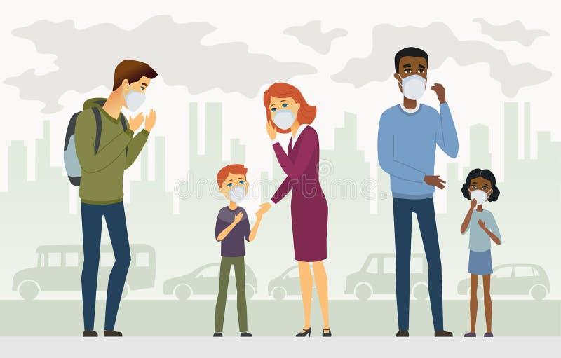Загрязнение воздуха - иллюстрация вектора характеров людей мультфильма иллюстрация вектора