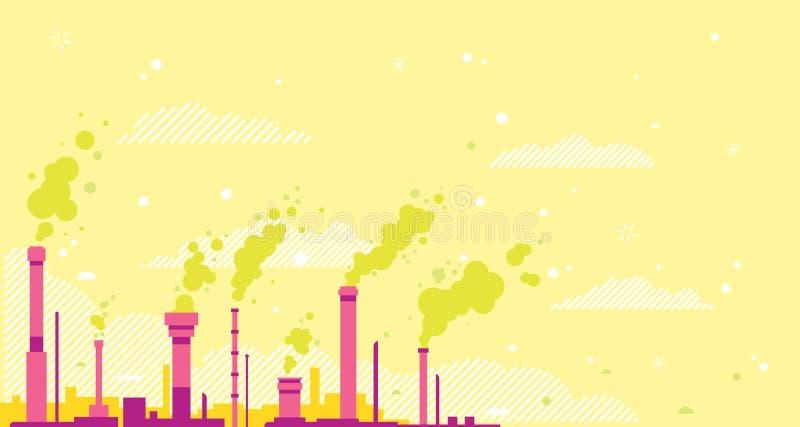 Загрязнение воздуха от промышленных труб иллюстрация штока