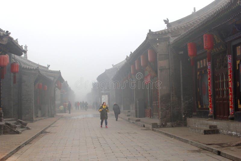 Загрязнение воздуха и смог в Pingyao (ЮНЕСКО), Китае стоковые изображения rf