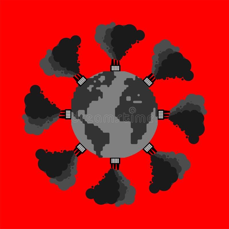 Загрязнение земли Завод и дым черная планета Ядовитый был иллюстрация вектора