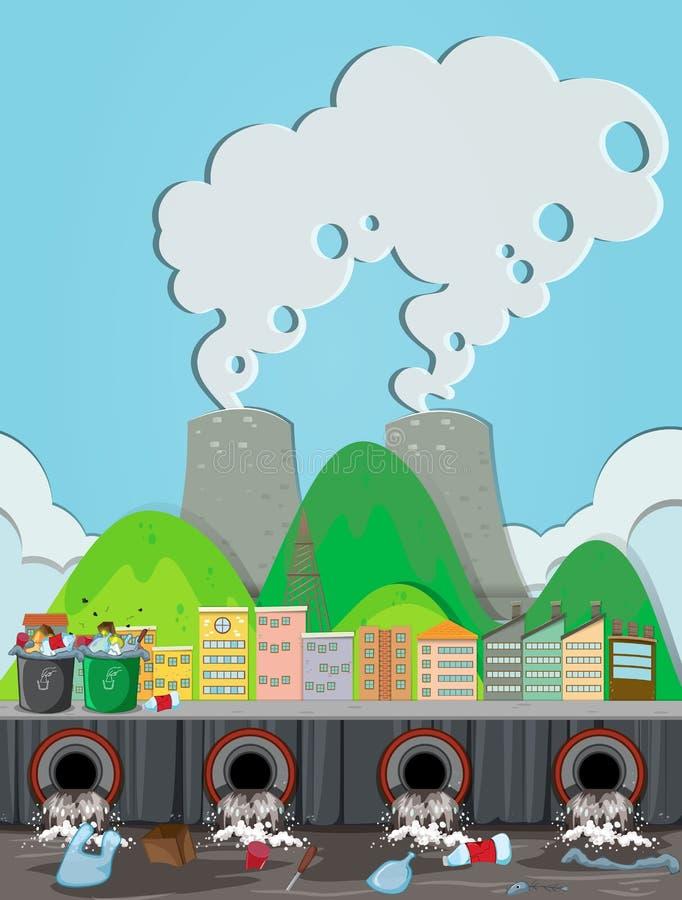 Загрязнение от атомной электростанции бесплатная иллюстрация