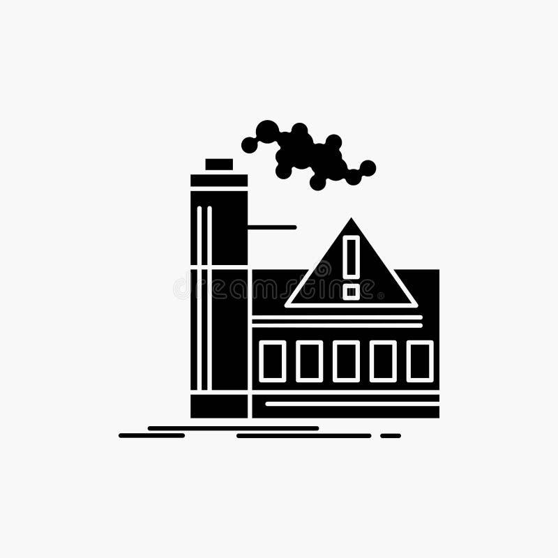 загрязнение, фабрика, воздух, сигнал тревоги, значок глифа индустрии Иллюстрация изолированная вектором иллюстрация вектора