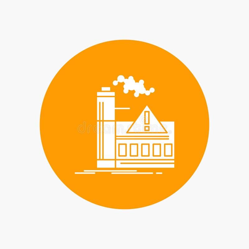 загрязнение, фабрика, воздух, сигнал тревоги, значок глифа индустрии белый в круге r иллюстрация вектора