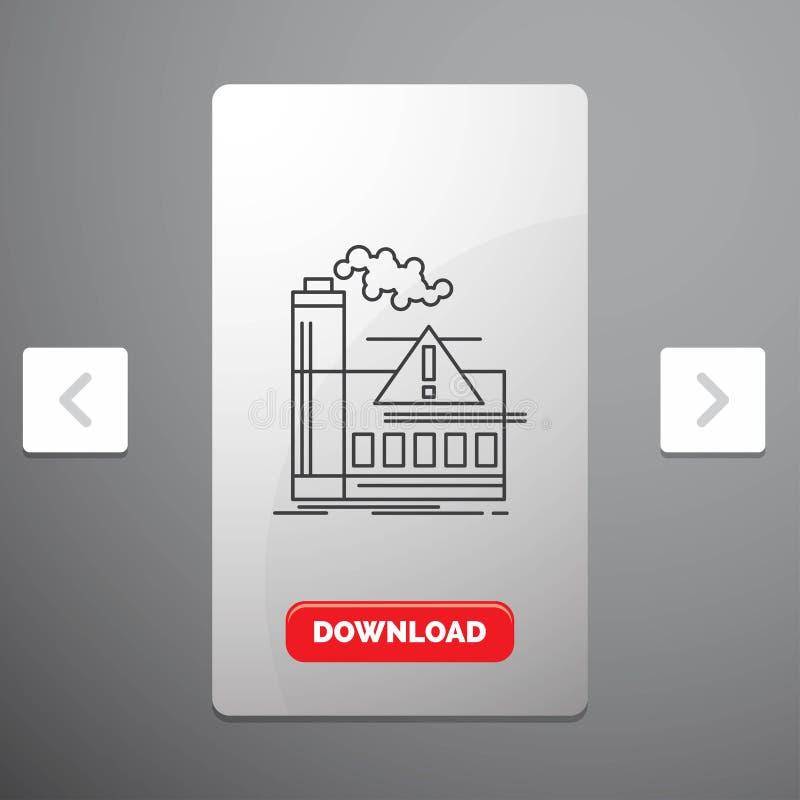 загрязнение, фабрика, воздух, сигнал тревоги, линия значок индустрии в дизайне слайдера пагинаций Carousal & красная кнопка загру иллюстрация вектора