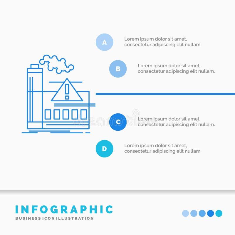 загрязнение, фабрика, воздух, сигнал тревоги, шаблон Infographics индустрии для вебсайта и представление Линия стиль голубого зна иллюстрация штока