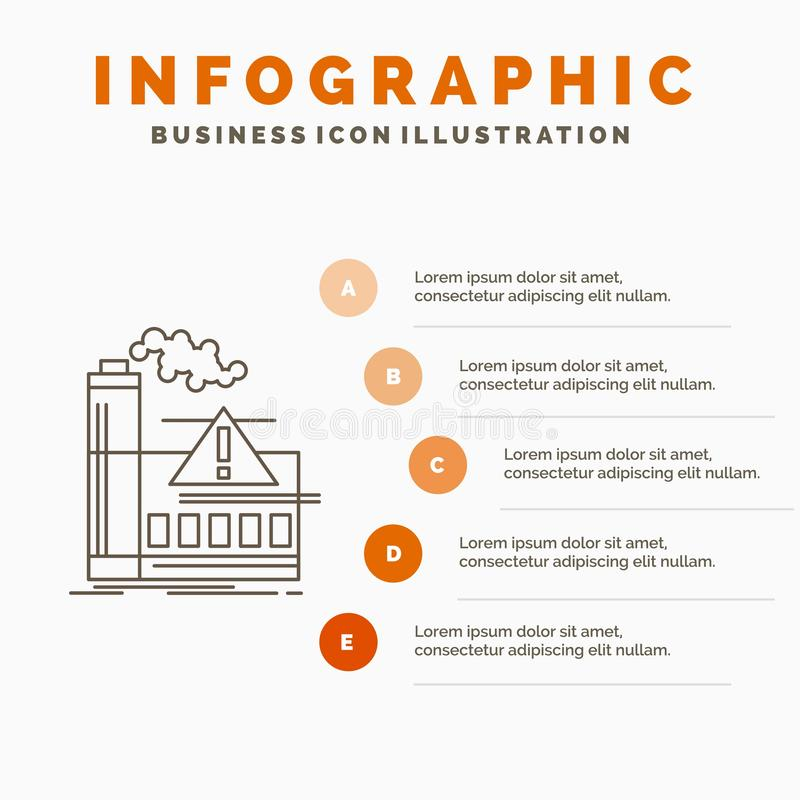 загрязнение, фабрика, воздух, сигнал тревоги, шаблон Infographics индустрии для вебсайта и представление Линия серый значок с апе бесплатная иллюстрация