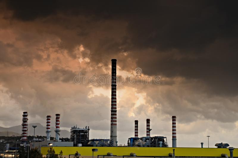 Загрязнение фабрики стоковые фото
