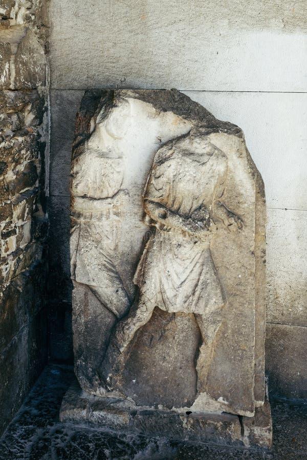 Загубленная скульптура на виске Augustus в пулах Хорватии форума стоковое фото rf