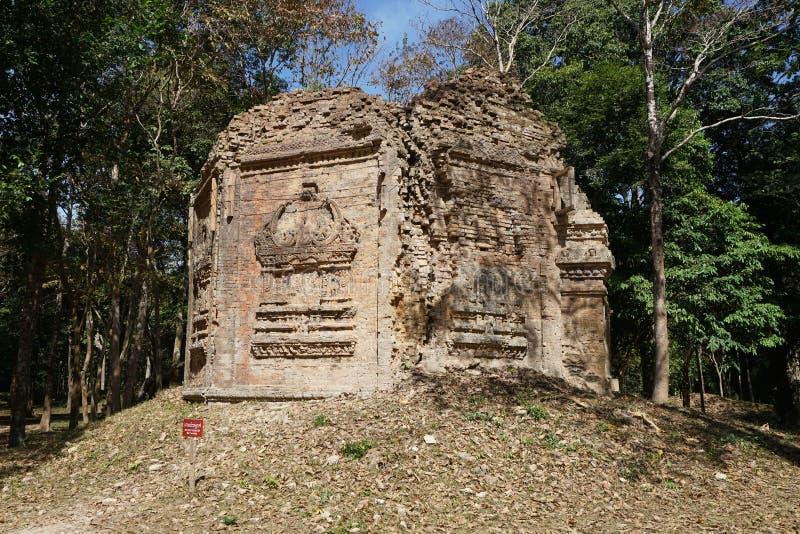 Загубленный висок на Prasat да Puon в Sambor Prei Kuk в Камбодже стоковые изображения rf