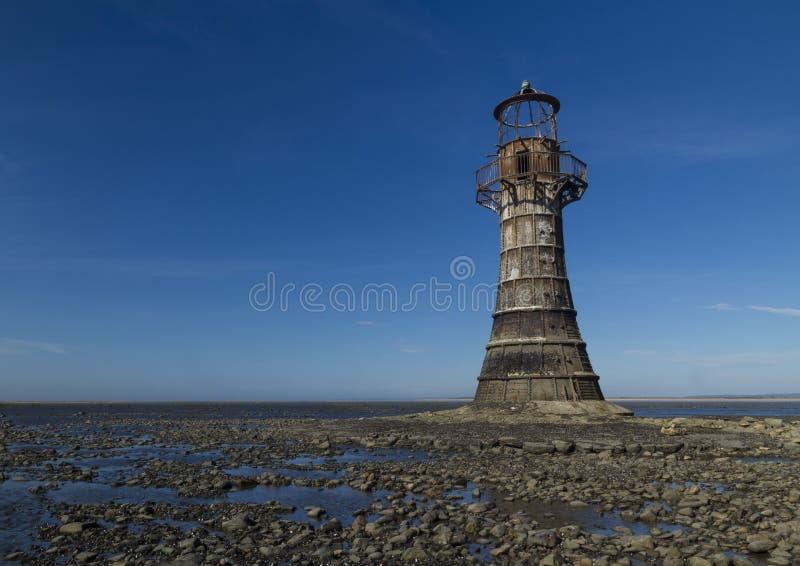 Загубленный покинутый маяк, космос к верхнему левому Пески Whiteford, стоковое фото rf
