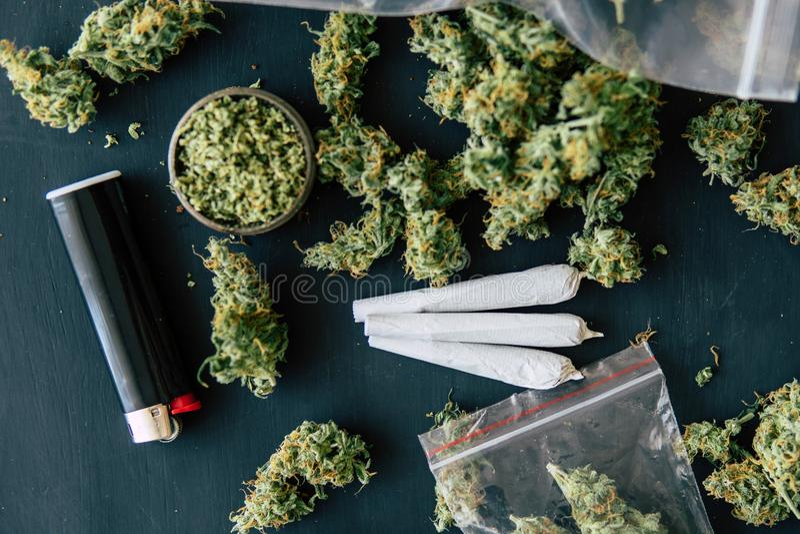 Задавленные конопли засорителя на черной таблице полют совместный макрос марихуаны бутонов конопли с trichomes стоковое изображение rf